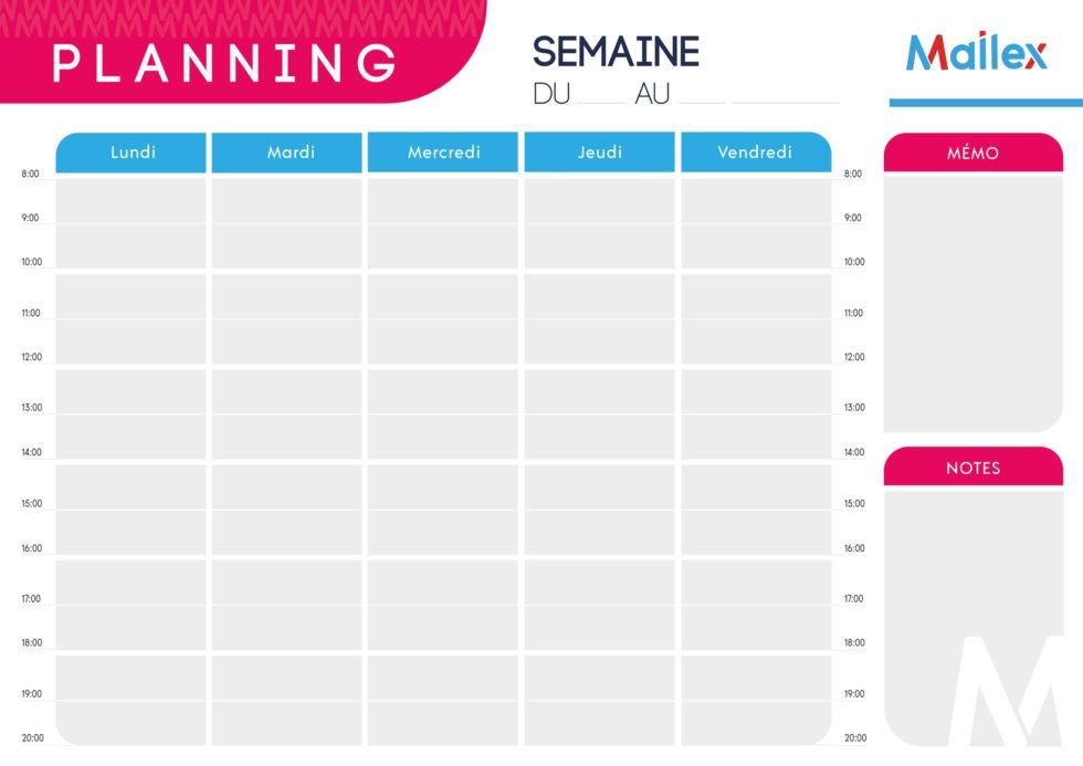 Planning mensuel 5 jours 6