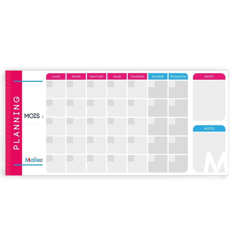 Planning mensuel 7 jours 8